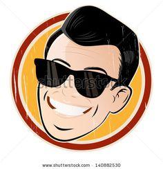 Vintage cartoon man with sunglasses. #vintage #retro #cartoon