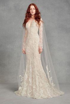 0ee60d4743c7 Appliqued Floral Lace Chapel-Length Veil - White by Vera Wang's beautiful  chapel-length tulle veil