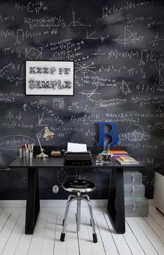 Not so sure about the typewriter, but I definitely need a chalk board behind my desk.