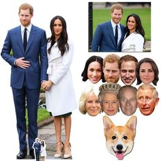 """Our Royal Wedding 2018 Silver Package contains a life sized Prince Harry & Meghan cardboard cutout, an 8 pack of Royal Family masks and for an extra bit of fun a Queen's Corgi Mask!  All packs contain a commemorative 8x10"""" photograph of the Royal Couple. Free UK delivery and worldwide shipping."""
