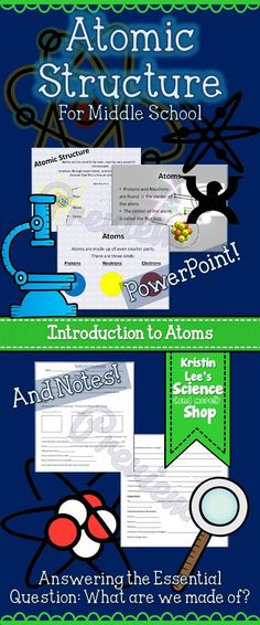 Atomic Structure PowerPoint and Notes for Middle School.  Great introduction to atoms. Answering the essential question: What are we made of? Discusses atoms, protons, neutrons, electrons, charges, the structure of the atom, etc.  Pictures and diagrams.  Available from Kristin Lee's Science (and more!) Shop on TeachersPayTeachers.