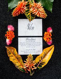 Marble calligraphy wedding invitations