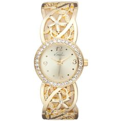 Kim Rogers Gold Womens Round Gold-Tone Floral Band Cuff Bangle Watch -... ($15) ❤ liked on Polyvore featuring jewelry, watches, gold, gold-tone watches, kim rogers, cuff jewelry, yellow gold jewelry and gold cuff jewelry