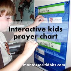 Interactive kids prayer chart -- great visual reminder to kids who to pray for.