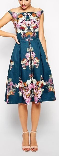 ASOS Vintage Floral Print Off shoulder Midi Bardot Skater Party Dress US 2 UK 6  #ASOS