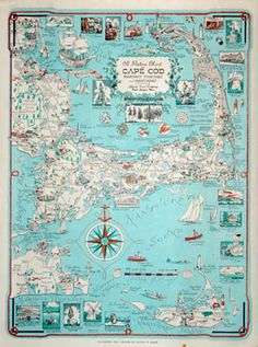 Cape Cod Pictorial Map   Designed by Clara Katrina Chase, c. 1950s-1960s