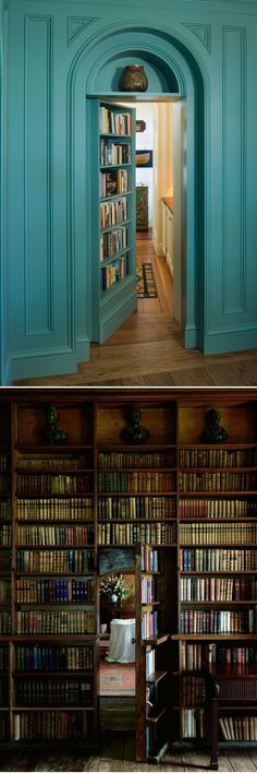 Convert your bedroom door into bookshelves. I love that it's like a secret passage way!