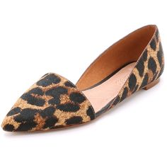 Madewell The Kendra d'Orsay Haircalf Flats ($120) ❤ liked on Polyvore featuring shoes, flats, leopard tan multi, calf hair flats, pointed toe flats, leopard print pointy toe flats, pointed-toe leopard flats and tan flats