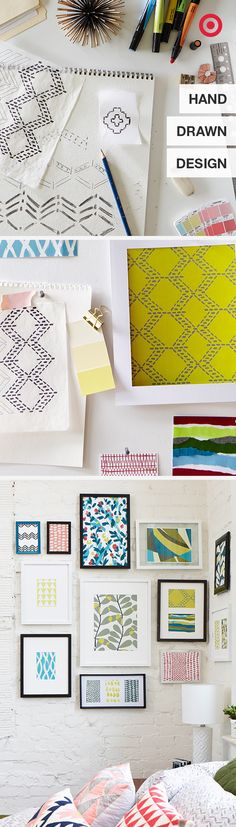 Love these patterns? Us too. The Target product design team hand-sketched these designs and using pencils, paints and even markers and used them on everything from pillows to wall art. They chose energizing colors to boost the mood of the room.