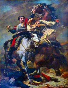 Melee combat between a French and Prussian cuirassier, Franco-Prussian War