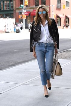 Chanel Slings, Effortless Outfit, Wardrobe Staples, NYC Street Style, Cropped Leather Jacket, Re/Done Levi's Jeans, Celine bag