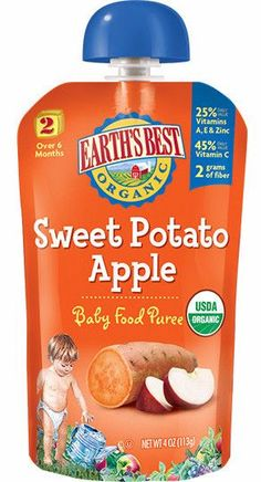 Earth's Best Organic Stage 2 Sweet Potato Apple Squeeze Pouch 4 oz