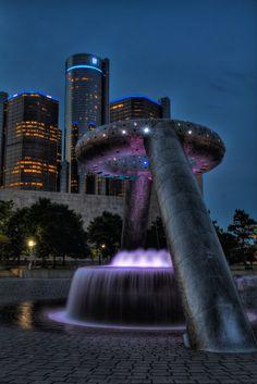 Michigan  Neon Dodge fountain #Detroit #Michigan