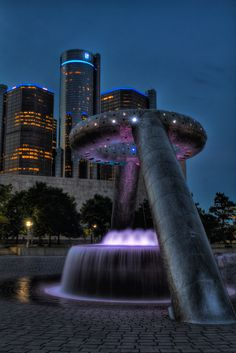 An awesome picture taken of the Neon Dodge fountain. Michigan Neon Dodge fountain #Detroit #Michigan