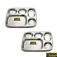 Primus Steel Dinner Plates: Buy Primus Steel Square Thali Plate Set of 2 Pcs Online | Oyekitchen.com