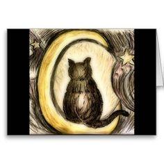 Custom Black Cat Magick Blank Inside Greeting Card