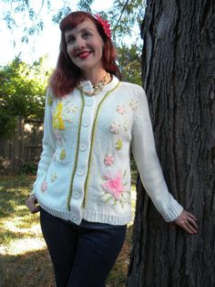 Vintage 60's Floral and Butterfly Cardigan by SongbirdIndustries, $25.00