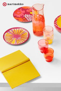 """Plan your next tablescape, indoors or out, around the prints from the Marimekko for Target collection. Style out everything from these Salad Plates to napkins, platters and more. Plus, add this Carafe Drinkware Set for some """"cheers"""" sure to spark compliments. Brunch, lunch, dinner and every day dining just got more fab. Dish some design starting April 17th. Click to peruse the entire collection lookbook featuring fashion, home, outdoor and more."""