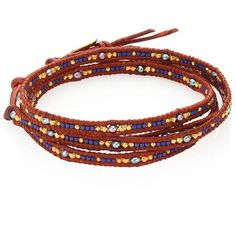 Chan Luu Japanese Seed Bead Wrap Bracelet ($225) ❤ liked on Polyvore featuring jewelry, bracelets, apparel & accessories, grey jewelry, 18 karat gold jewelry, beaded jewelry, peacock bangle and peacock jewellery