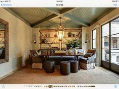 Unusual ceiling beam design & high gloss paint