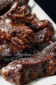 Slow Baked Boneless Beef Short Ribs-These are amazing. I did not cook the sauce beforehand. Just mixed and poured over meat.