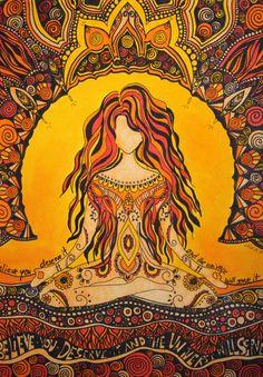 Meditation woman Sticker by Heike Maria - White Background - Art Hippie, Yoga Kunst, Illustration Photo, Psy Art, Yoga Art, Psychedelic Art, Female Art, Art Inspo, Fantasy Art
