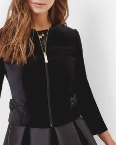 Image result for ted baker MIFNA Black Velvet Jacket