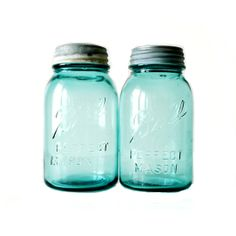 Vintage Blue Glass Ball Mason Jars S/2 from Beach Blues - Hunters Alley