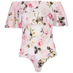 Boohoo Harriet Floral Off The Shoulder Bodysuit (210 DKK) via Polyvore featuring intimates and shapewear