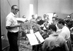 Quincy Jones at work at a Sarah Vaughan recording session in Copenhagen, Denmark in 1963.