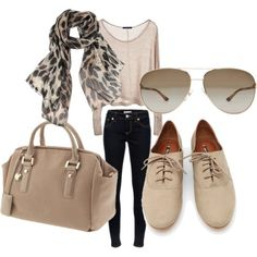 leopard scarf + gold/cream tinted aviators + cream suede oxfords + dark wash skinny jeans + cream knit sweater + light tan purse