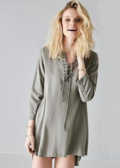 Kjole armygrøn 171-227 Wendy Solid Woven Tunic - army