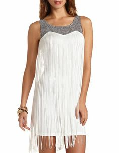 Metallic Glitter Fringe Dress: Charlotte Russe