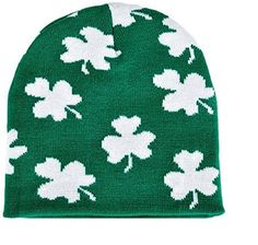 592e0053ca4 Irish Shamrock Beanie Hat - St Patrick Day Clover Ski Cap... https