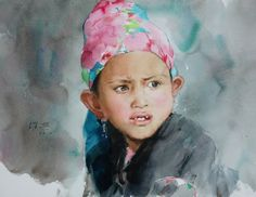 Guan Weixing's watercolor--Girl with ambition