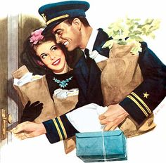 I'm home for keeps, baby! ~ Illustration of a WWII soldier returning home from wartime to his girl by William Rose; ca. 1940s.
