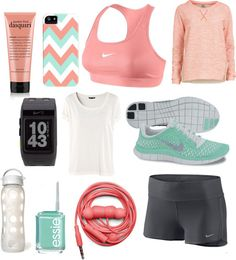 Spend a little time getting proper workout clothes. Get one set for each day of the week. and for the type of workouts that you do. I don't get why there is nail polish though. Kinda silly to feel like you need matching nail polish...you're probably wearing workout clothes for the wrong reasons...
