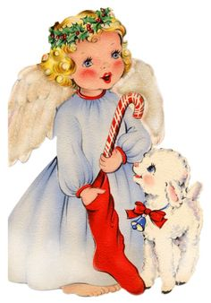 vintage holiday card ~ angel and sweet lamb Images Vintage, Vintage Christmas Images, Old Fashioned Christmas, Christmas Past, Retro Christmas, Vintage Holiday, Little Christmas, Christmas Pictures, Christmas Angels