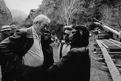 """""""The Battle for the Planet of the Apes"""" - John Huston and Roddy McDowall, 1973."""