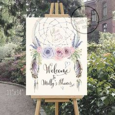 Welcome sign dreamcatcher baby or bridal shower watercolor tribal boho lavender bohemian printable. Digital printable. 085CMPEX 086CMPEX