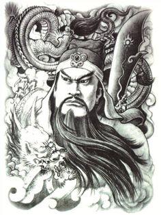 Oriental Warrior Tattoo #t4aw #tattooforaweek #temporarytattoo #oriental #warrior #tattoo Black White Tattoos, Black And White Drawing, Asian Tattoos, New Tattoos, Guan Yu, Back Tattoos For Guys, Warrior Tattoos, Japanese Dragon Tattoos, Full Body Tattoo
