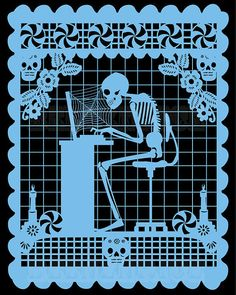 Computadora Papel Picado Print WEEKEND SALE by beenznrice on Etsy, $17.99