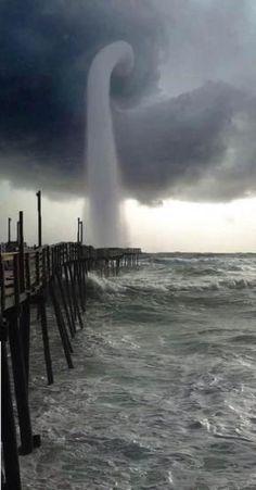 Waterspout (water tornado) in Nag's Head North Carolina, USA
