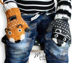Mutturalla: Kun lapaset eivät ole parit vaan kaverit -- Contains knit grid Crochet Mittens Pattern, Crochet Gloves, Knit Mittens, Knitting Socks, Knitted Hats, Knitting Patterns, Crochet Patterns, Knitting For Kids, Baby Knitting