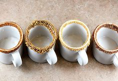 rim mugs with crushed cookies, chocolate, spices. #partycrafters #winter