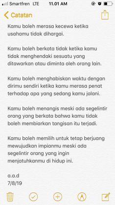 Quotes Lucu, Quotes Galau, Message Quotes, Reminder Quotes, Simple Quotes, Self Love Quotes, Short Quotes, Best Quotes, Tumblr Quotes