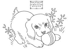 Vintage Embroidery Patterns | Cute Vintage Puppy Embroidery Transfer Pattern