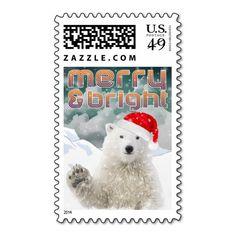Santa Polar Bear | Christmas Holiday Postage stamp