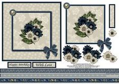 Floral Beuty In Blue And Cream 6x6 Square Card With Decoup
