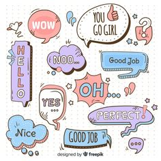 Hand drawn speech bubbles with different expressions Free Vector Phone Stickers, Kawaii Stickers, Journal Stickers, Cute Stickers, Planner Stickers, Doodle Frames, Doodle Art, Sketch Notes, Bullet Journal Writing